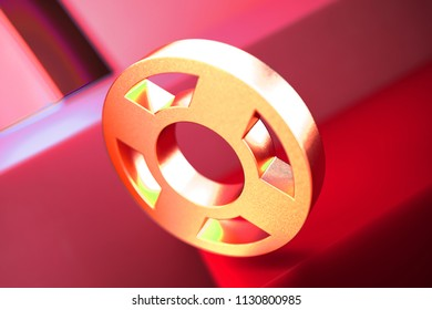 Life Ring Icon on the Red Geometric Background. 3D Illustration of Metallic Floatation Device, Guardar, Life Buoy, Life Ring, Life Save Icon Set With Color Boxes on Red Background.