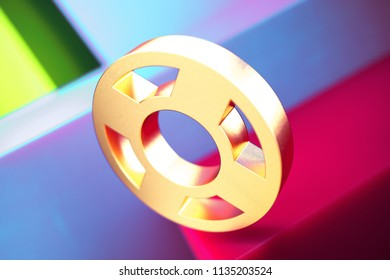 Life Ring Icon on the Violet and Contrast Green Geometric Background. 3D Illustration of Gold Floatation Device, Guardar, Life Buoy, Life Ring, Life Save Icon Set With Installation of Color Boxes.