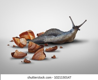 Life in transition and change your image concept or lose baggage concept as a snail that has lost its shell in a 3D illustration style.