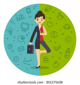 Life and work balance. Businesswoman in suit and doing yoga. Background divided in two themed parts.