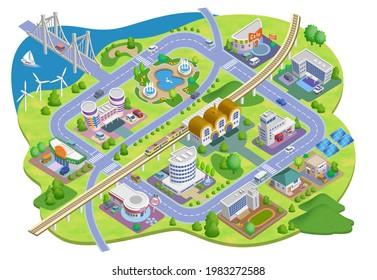 生活に基づくスマートな都市の街並みのイラスト