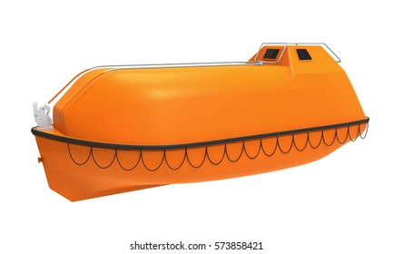 Lifeboat Offshore Isolated. 3D rendering