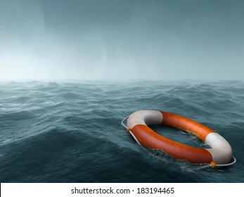 Lifebuoy floating in the vast expanse of sea