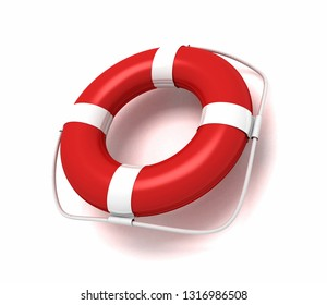 lifebuoy isolated - lifeguard preserver. 3D rendering illustration