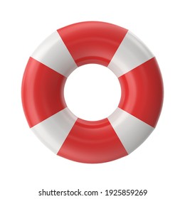 Lifebuoy on a white background. Help, rescue concept. 3D illustration, 3D rendering
