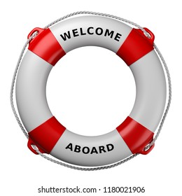 Lifebuoy with Welcome Aboard Text Isolated on White Background 3D Illustration