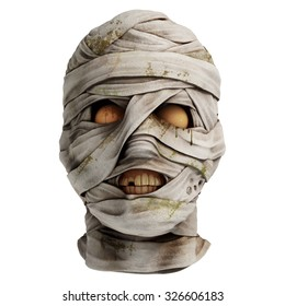 Lifelike mummy head covered with bandage. Front view. Photo realistic 3d render