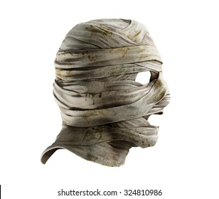 Lifelike mummy mask made of bandage. Profile view. Photo realistic 3d render