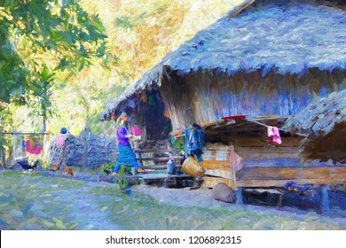The lifestyle of a long-necked Karen women.  Long Neck Karen hill tribe village is near Chiang Mai in the Northern of Thailand. - abstract digital oil painting