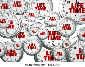 Lifetime Span Live Expectancy Clocks Flying 3d Illustration