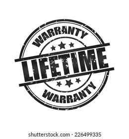 Lifetime warranty grunge rubber stamp.