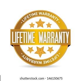 lifetime warranty seal stamp illustration design over a white background