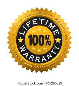 Lifetime Warranty Sign. 3D rendering