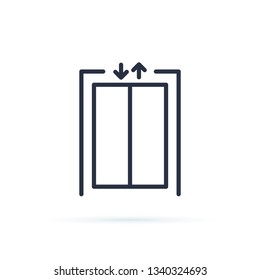 Lift icon. Blank closed elevator in office floor interior, front view. Empty lift. Concept of business center or hotel lifting template. Elevator icon. Escalator, down, up symbol.