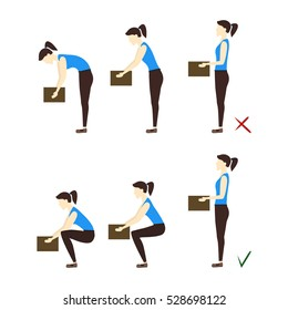 Lifting Box Correct and Incorrect Position. Poster with the Instruction. Flat Design Style. illustration
