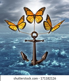Lifting the burden business concept as a group of three monarch butterflies raising a heavy anchor from a stormy ocean as a liberation metaphor and unstoppable freedom by working together as a team.