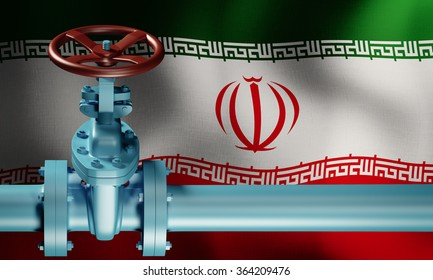 Lifting of sanctions against Iran. Oil pipe in front of the Iranian flag. Extraction of oil.