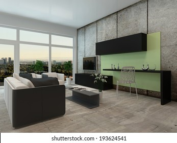Light airy modern apartment living room interior with a floor to ceiling view window and comfortable lounge suite and wall mounted television in neutral colors
