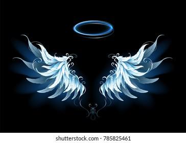 Light, artistic, blue angel wings on black background.