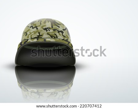 79d827f433f Light Background Military helmet with camouflage patterns. Metallic army  symbol of defense and protect.
