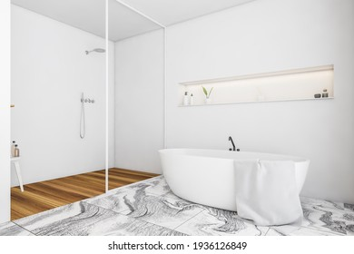 Light bathroom with bathtub on white tiled floor and wooden rug in shower with glass partition, deck in wall with backlight and gels with plant. 3D rendering no people