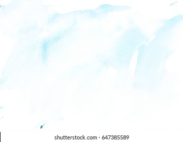 Light blue abstract watercolor drawn hand background. Light brown watercolor ombre texture. Hand-painted backdrop frame.