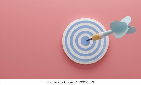 Light blue arrow and darts target aim on the pink background . 3d illustration. Render.Template for design, banner, flyer.