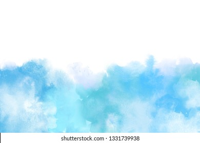 Light Blue Artistic Watercolor Backround isolated on white, big size