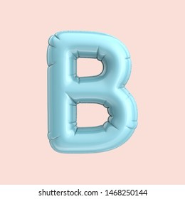 Light blue balloon letter B, 3D rendering alphabet isolated on pink background