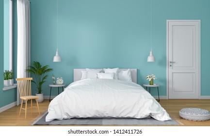 Light blue bedroom interior for mockup, 3D rendering