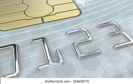 Light Blue Credit Card. Macro view of Credit Card with Chip. Light Blue pattern plastic. 3D render. Generic names and numbers, non branded.