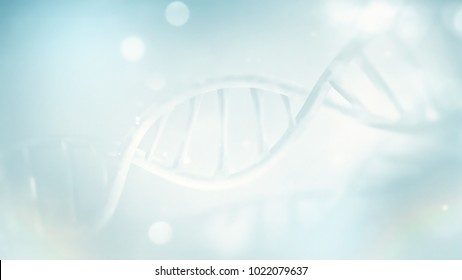 light blue DNA strand close-up full screen. 3D image
