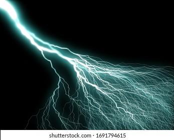 A light blue electric lightning bolt through a black background