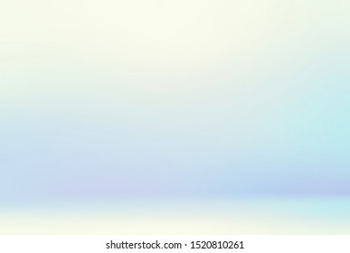 Light blue icy room 3d illustration. Subtle blur background. Abstract empty wall and floor pastel texture. Delicate winter interior.