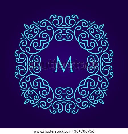 light blue monogram design template monogram stock illustration