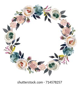 Light  Blue Pale Pink Gray White Watercolor Floral  Wreath.