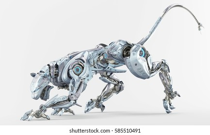 Light blue pearl robot panther hunting 3d rendering