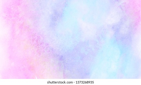 Light blue, purple and pink shades watercolor background for vintage card, retro templates. Beautiful fantasy colorful aquarelle paper textured ink effect grungy wet pastel illustration for design