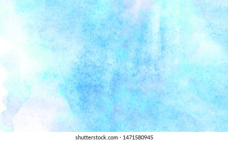 Light blue sky shades color watercolor illustration, creative background, smeared turquoise frame. Aquarelle painted paper textured canvas for vintage design, invitation card, template