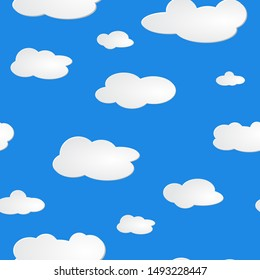 light blue sky white clouds pattern seamless. Set of blue sky, clouds. Abstract white cloudy set isolated on blue background.