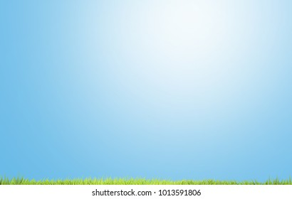 Light Blue Sunshine Sky With Blades Of Grass Green Meadow 3d Rendering  Background