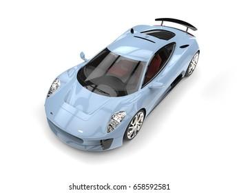 Light blue urban elegant super sports car - 3D Illustration