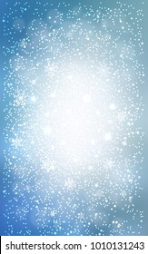 Light BLUE vertical layout with bright snowflakes. Snow on blurred abstract background with gradient. The pattern can be used for new year leaflets.