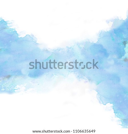 Light Blue Watercolor Background Abstract Texture Illustration Design Watercolour Paint Paper Art Wallpaper Stain Hand