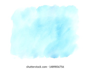 Light blue watercolor background with stains. Blue watercolor texture. Soft pastel color.