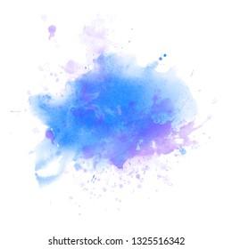 Light Blue watercolor splash backround isolated on white, big size border