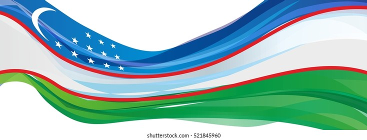 light blue white green flag of the Republic of Uzbekistan