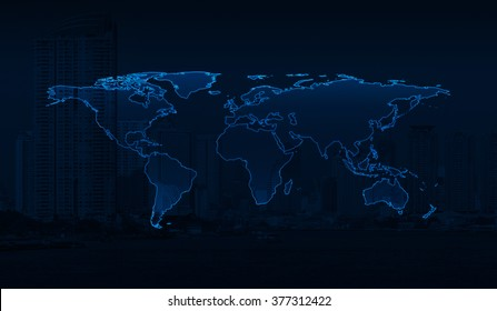Light blue world map on dark stock illustration 469897019 shutterstock light blue world map on city background elements of this image furnished by nasa gumiabroncs Gallery