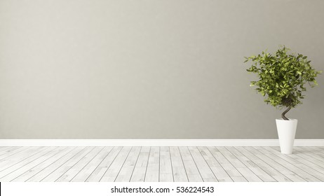 light brown wall empty room with green plant in vase 3D rendering by Sedat SEVEN