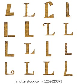 419b8341fe34 Light brown wood letter L set in multiple various assorted fonts in a 3D  illustration with